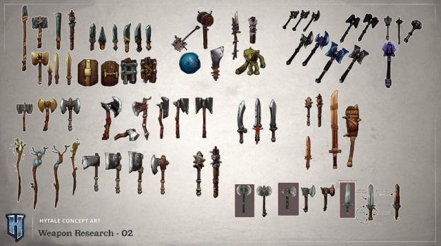 Aperçu d'un deuxième pack d'armes que l'on pourra avoir dans Hytale