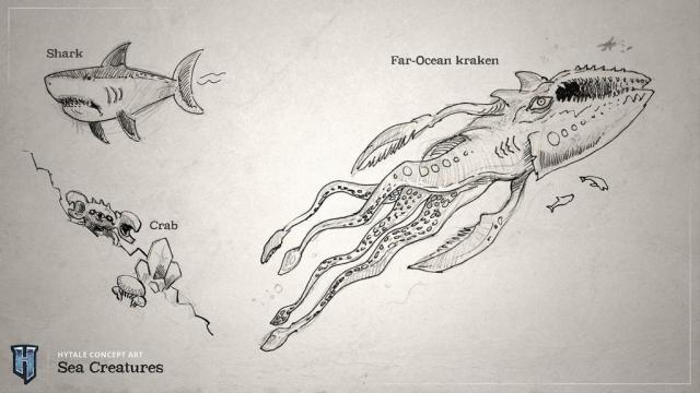 Croquis des créatures que l'on peut trouver dans les océans