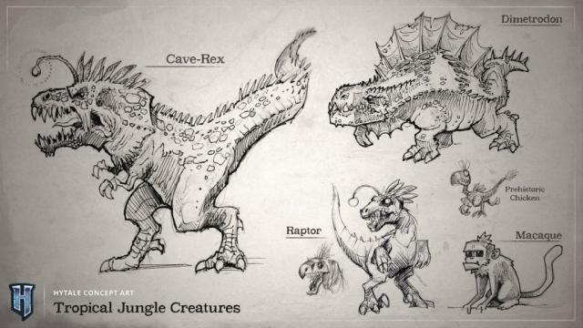 Croquis des créatures qu'on peut trouver dans la jungle et les tropiques