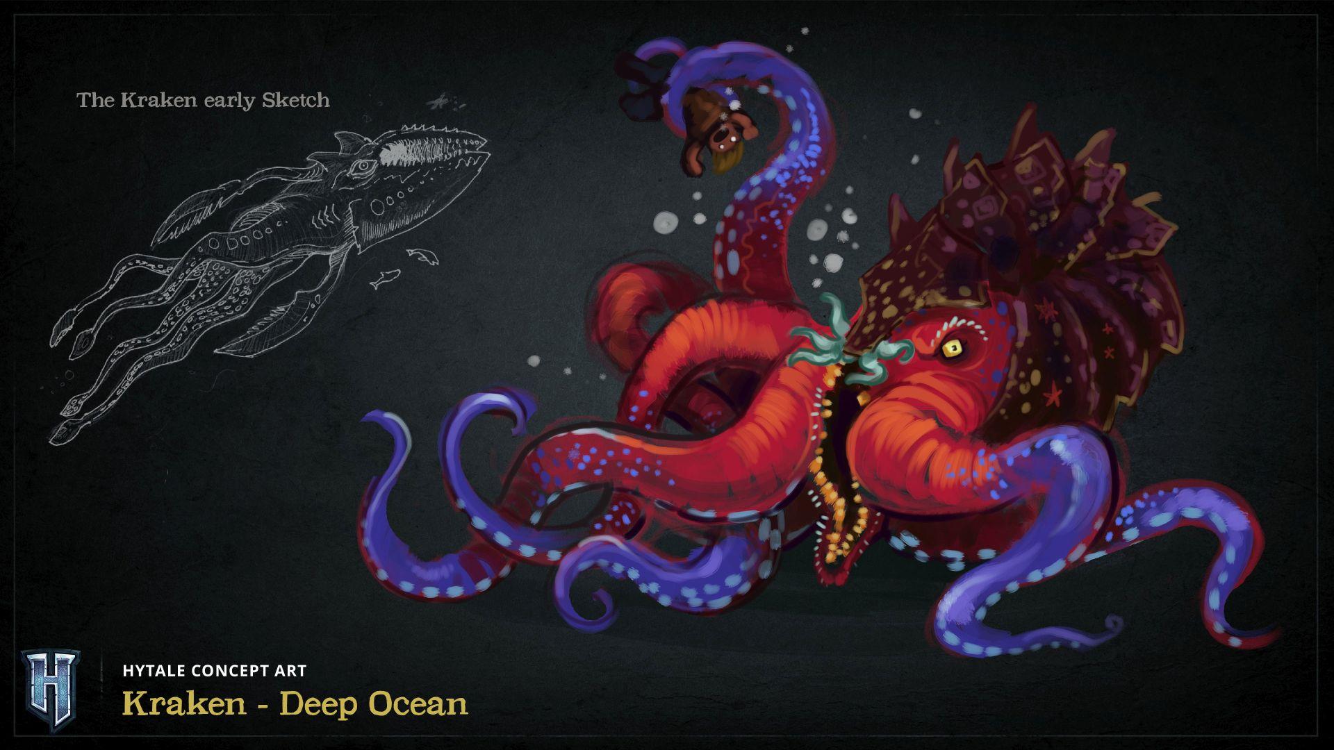 Dessin qui représente le Kraken dans Hytale