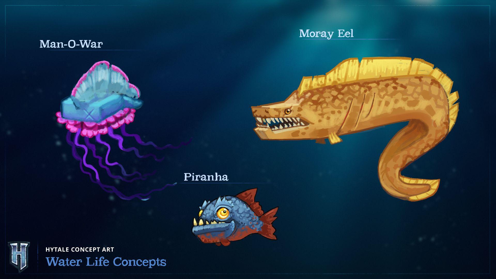 Une illustration de la vie aquatique dans Hytale.