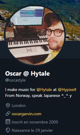 Copie d'écran du profil twitter d'Oscar Garvin