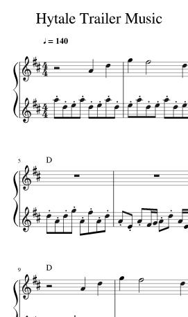 Partition de la musique du Trailer composée Oscar Garvin