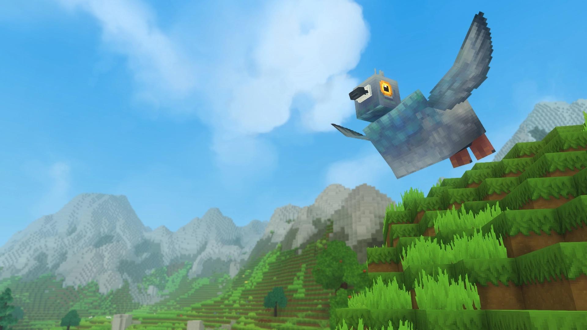 Un pigeon en train de voler, la tête bien avant et les deux ailes relevés, l'air serein.