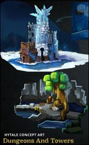 Des exemples de tours et donjons d'Hytale dont un arbre où un être caché dans la pénombre loge à ses racines.