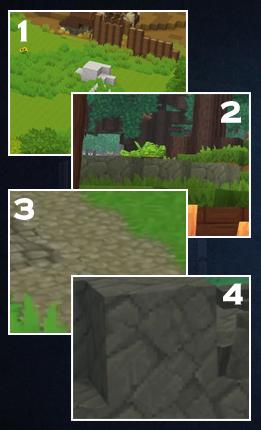 4 exemples de roches retrouvées dans Hytale interprétées comme : marbre, calcaire, gravier gris clair et andésite